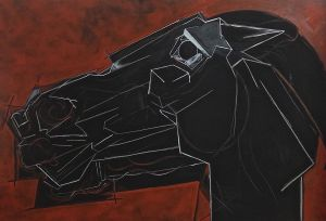 Peter Walker Sculptor Strucutre Of The Horse Head -red